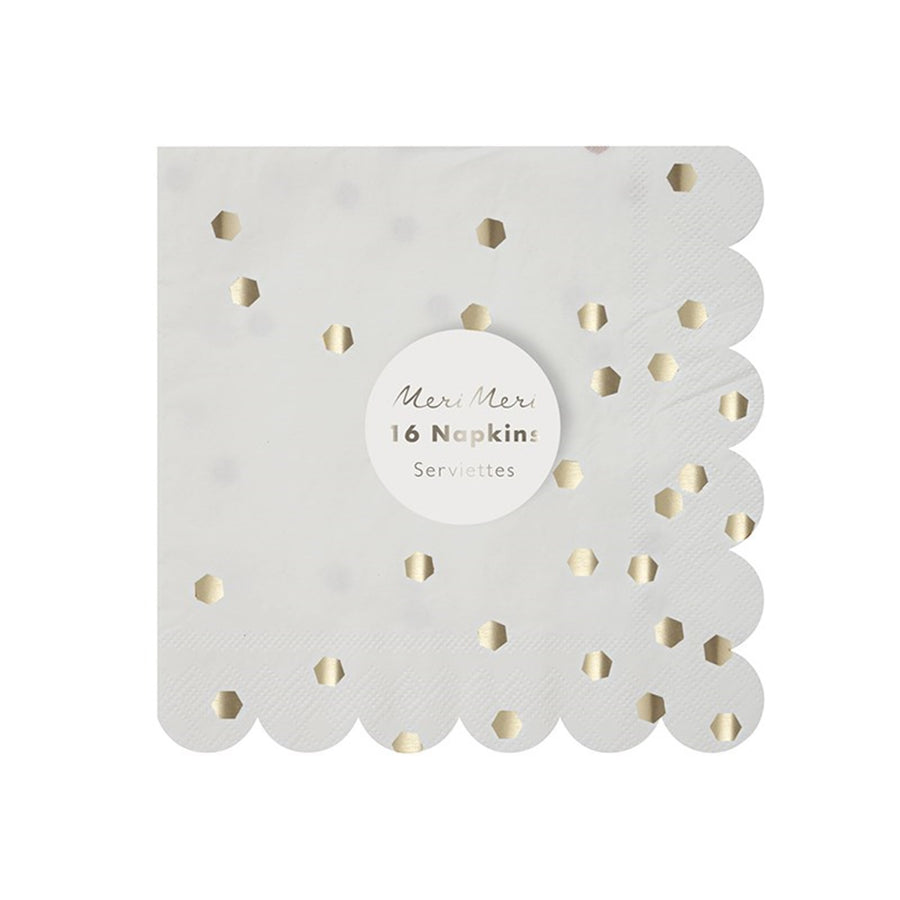 Meri Meri Silver Hexagonal Paper Napkins - Small, MM-Meri Meri UK, Putti Fine Furnishings