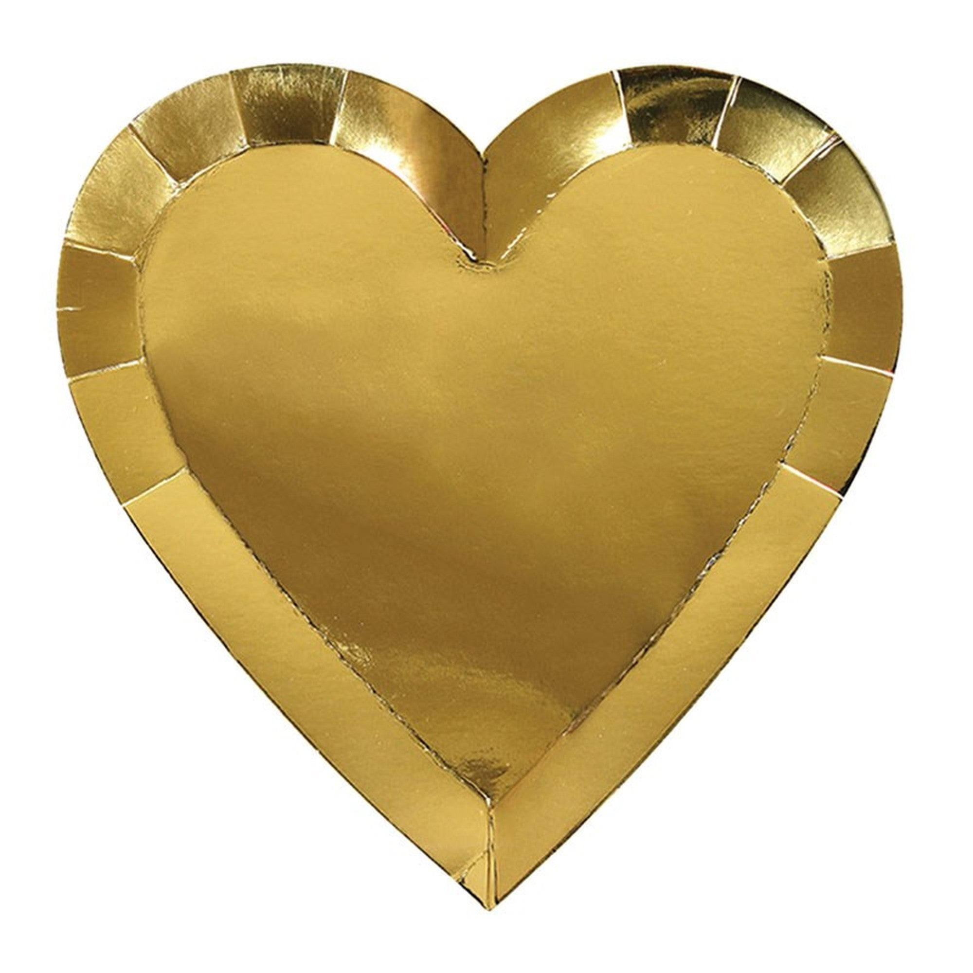 Meri Meri Gold Foil Heart Paper Plates - Large, MM-Meri Meri UK, Putti Fine Furnishings