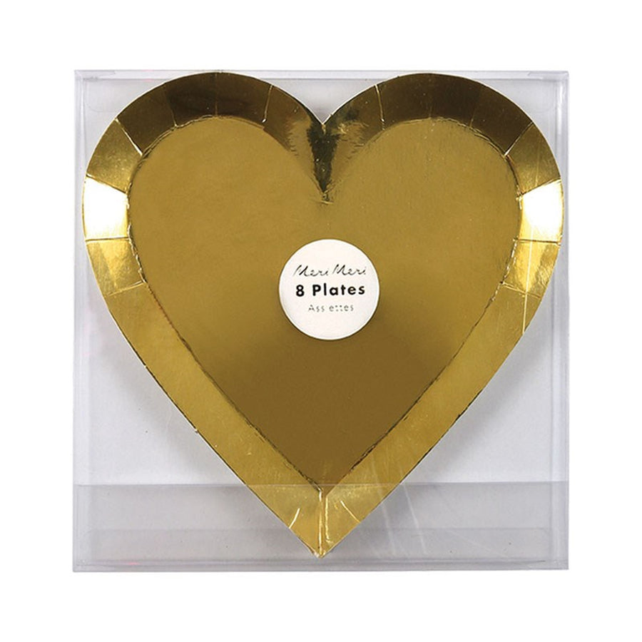 Meri Meri Gold Foil Heart Paper Plates - Small, MM-Meri Meri UK, Putti Fine Furnishings