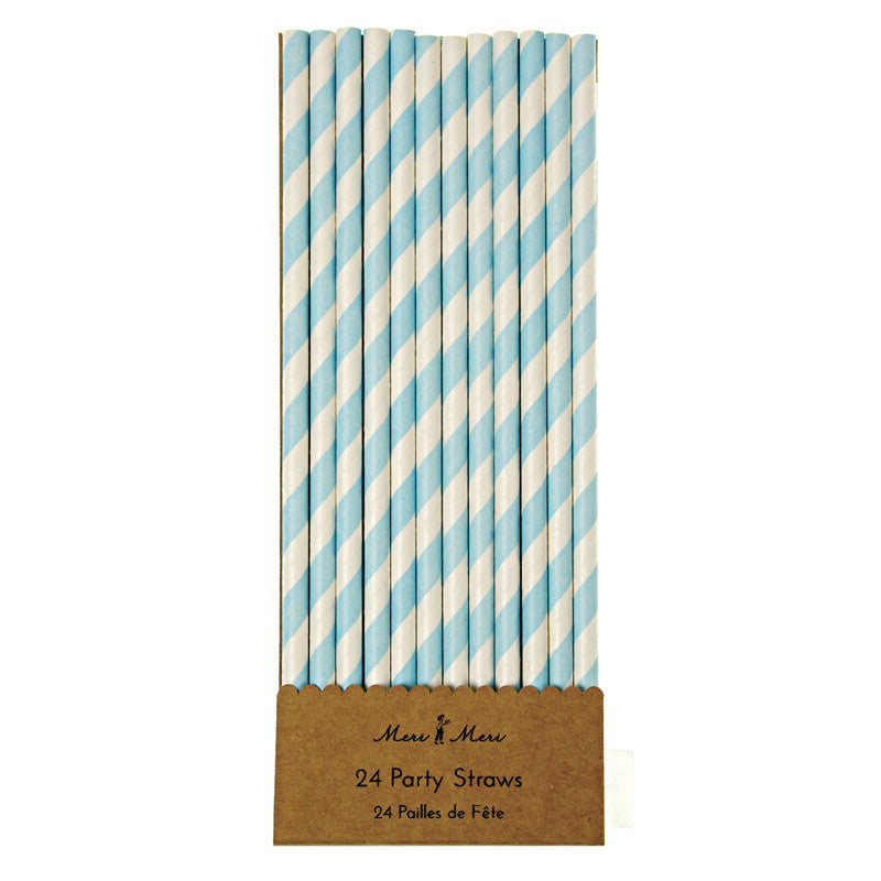 Meri Meri Blue & White Stripe Straws