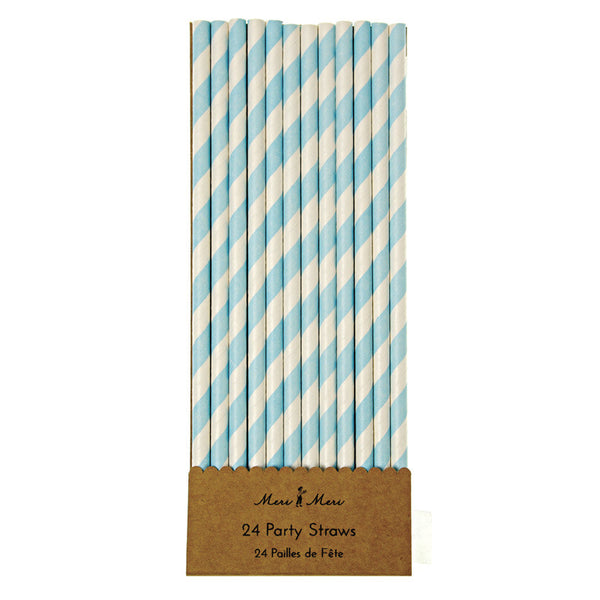 Blue & White Stripe Straws -  Party Supplies - Meri Meri UK - Putti Fine Furnishings Toronto Canada - 1