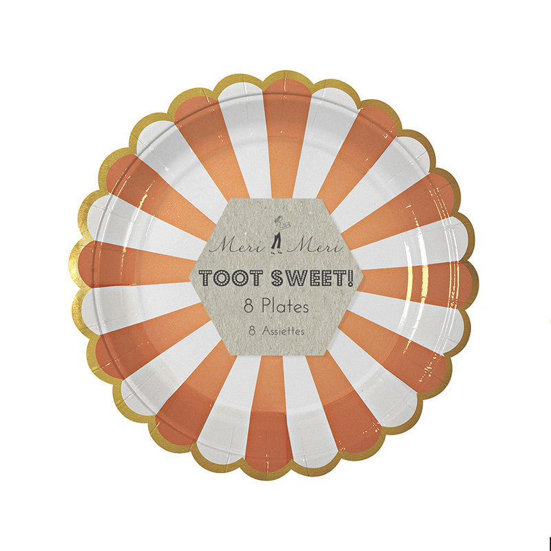 "Meri Meri ""Toot Sweet"" Orange and White Striped - Small Paper Plates"