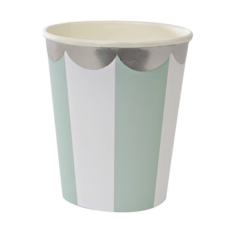 """Toot Sweet"" Aqua & White Striped - Paper Cups -  Party Supplies - Meri Meri UK - Putti Fine Furnishings Toronto Canada"