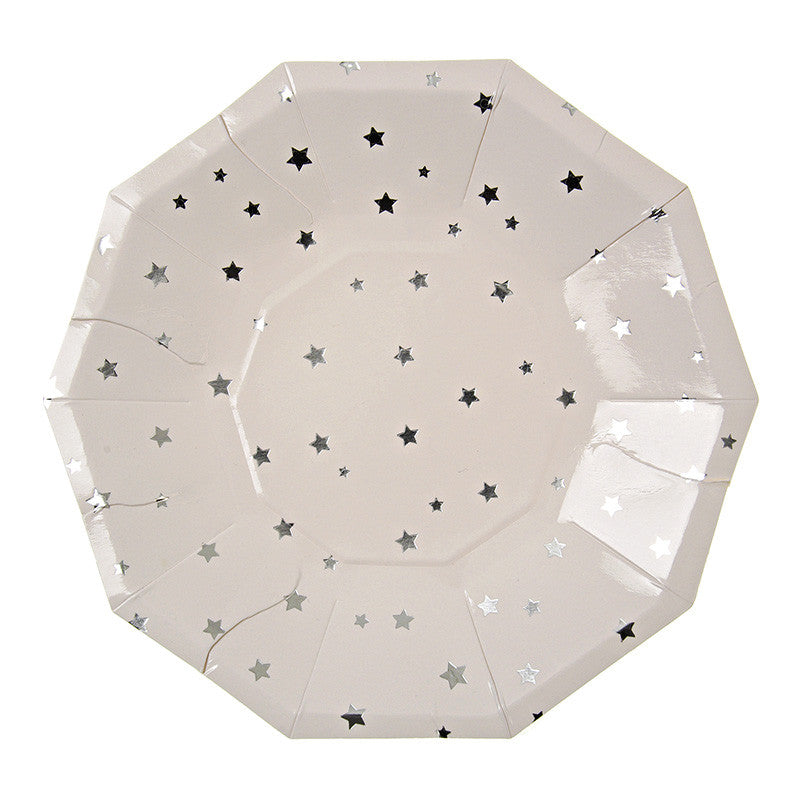 Silver Stars Paper Plates - Small, MM-Meri Meri UK, Putti Fine Furnishings
