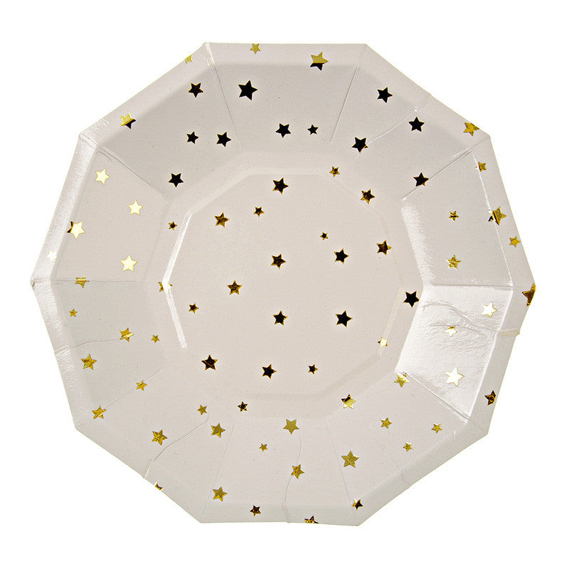Gold Stars Paper Plates - Small, MM-Meri Meri UK, Putti Fine Furnishings
