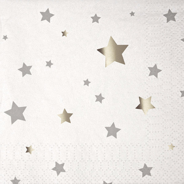 Silver Stars Paper Napkins - Small, MM-Meri Meri UK, Putti Fine Furnishings