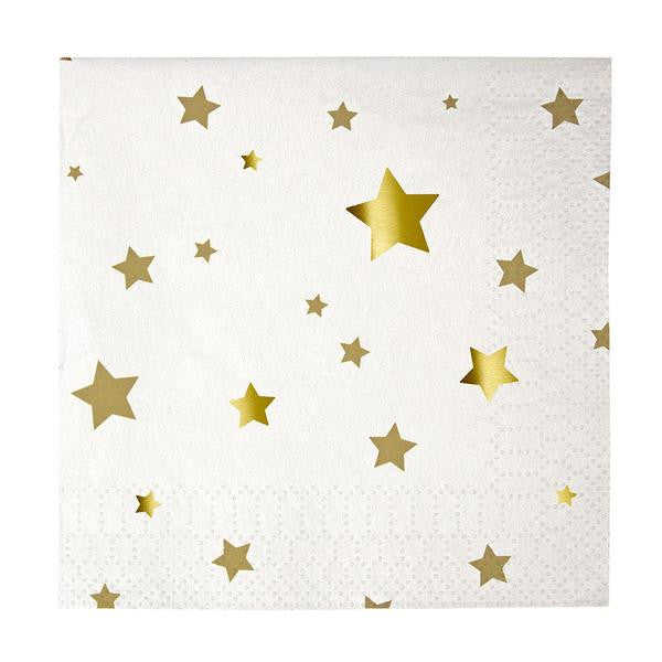 Gold Stars Paper Napkins - Small
