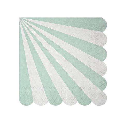 """Toot Sweet"" Aqua & White Striped - Small Paper Napkins -  Party Supplies - Meri Meri UK - Putti Fine Furnishings Toronto Canada"