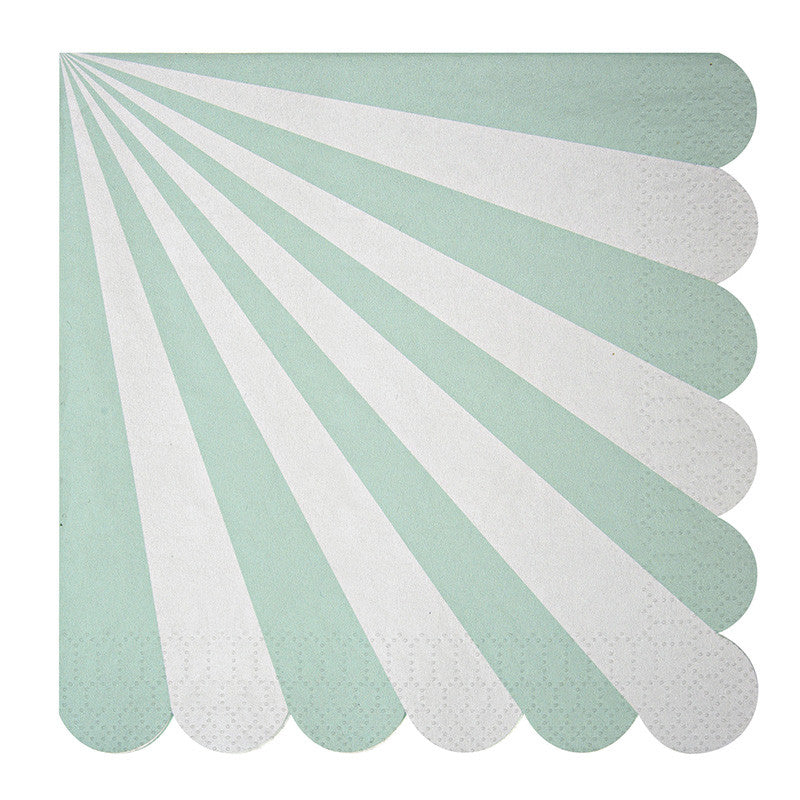 "Meri Meri ""Toot Sweet"" Aqua and White Striped - Large Paper Napkins"