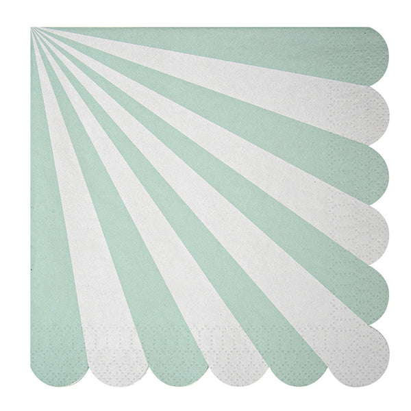 """Toot Sweet"" Aqua and White Striped - Large Paper Napkins -  Party Supplies - Meri Meri UK - Putti Fine Furnishings Toronto Canada"