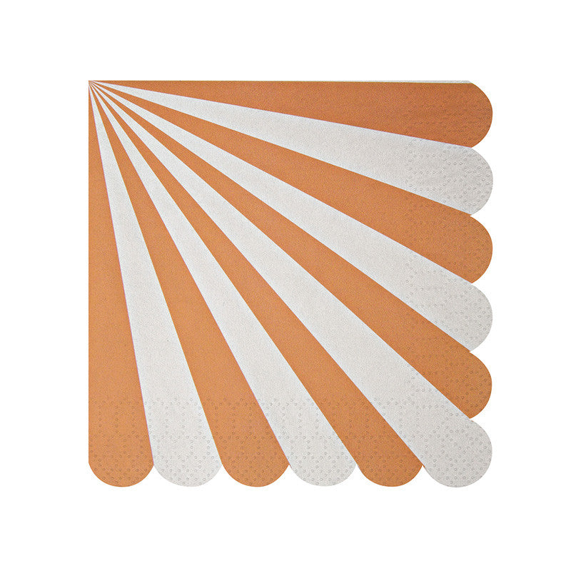 "Meri Meri ""Toot Sweet"" Orange and White Striped - Small Paper Napkins"