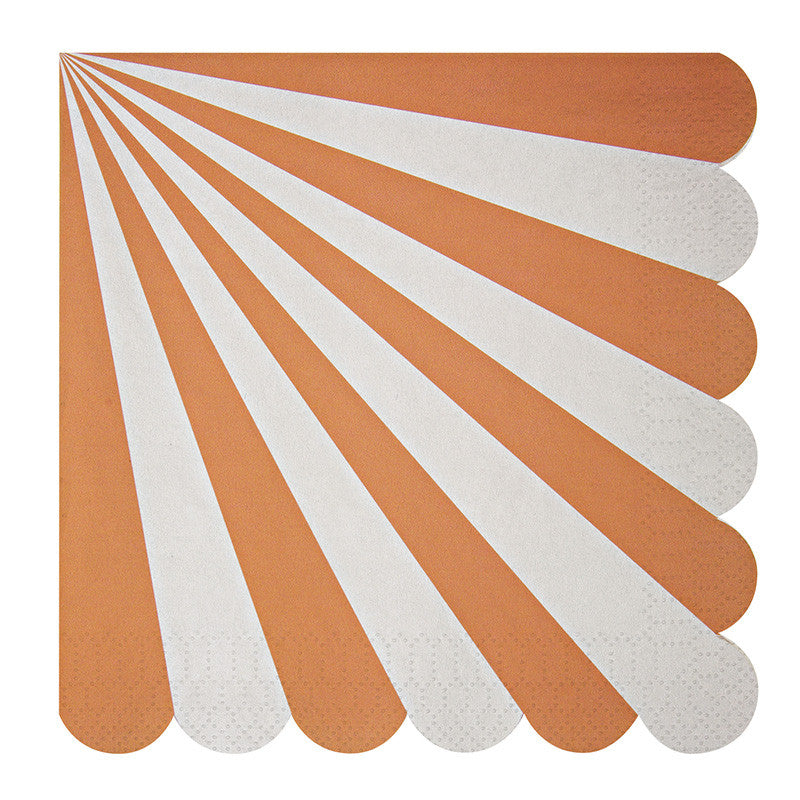 "Meri Meri ""Toot Sweet"" Orange and White Striped - Large Paper Napkins"