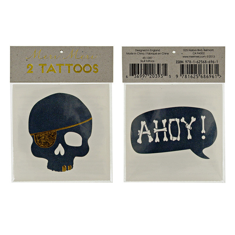 "Meri Meri ""Pirate"" Skull & Ahoy Tattoos"