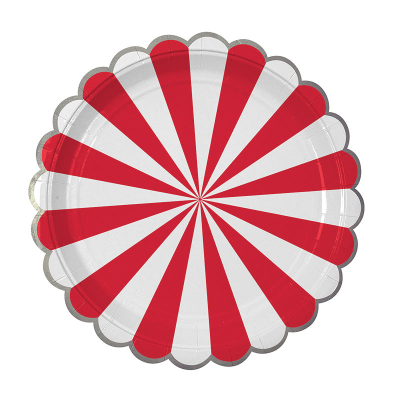 Meri Meri Red and White Striped - Large Paper Plates, MM-Meri Meri UK, Putti Fine Furnishings