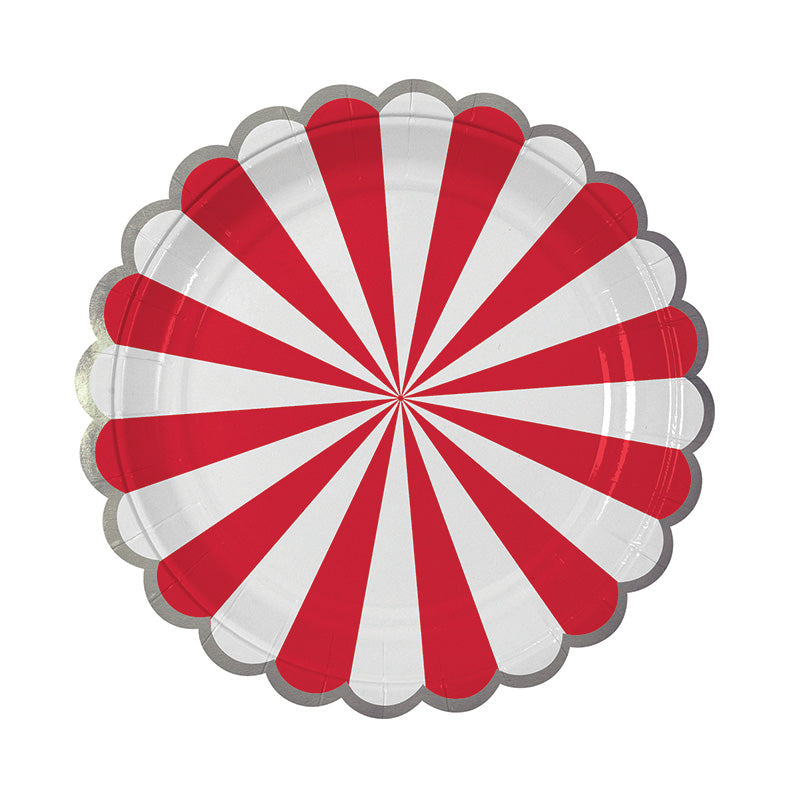Meri Meri Red and White Striped - Small Paper Plates, MM-Meri Meri UK, Putti Fine Furnishings