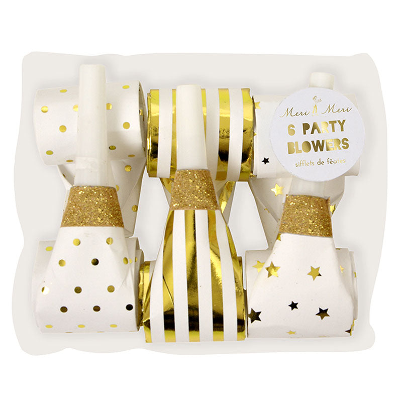 Meri Meri Gold Party Blowers, MM-Meri Meri UK, Putti Fine Furnishings