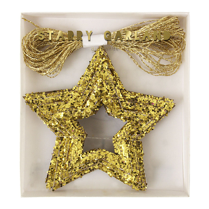 Meri Meri Glitter Stars Mini Garland - Gold, MM-Meri Meri UK, Putti Fine Furnishings