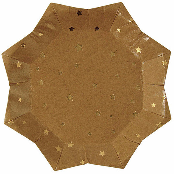 Kraft Gold Star Paper Plate - Large, MM-Meri Meri UK, Putti Fine Furnishings