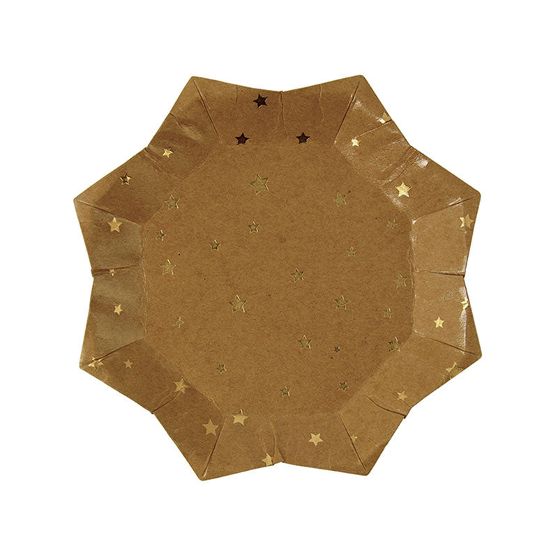 Meri Meri Kraft Gold Star Paper Plate - Small