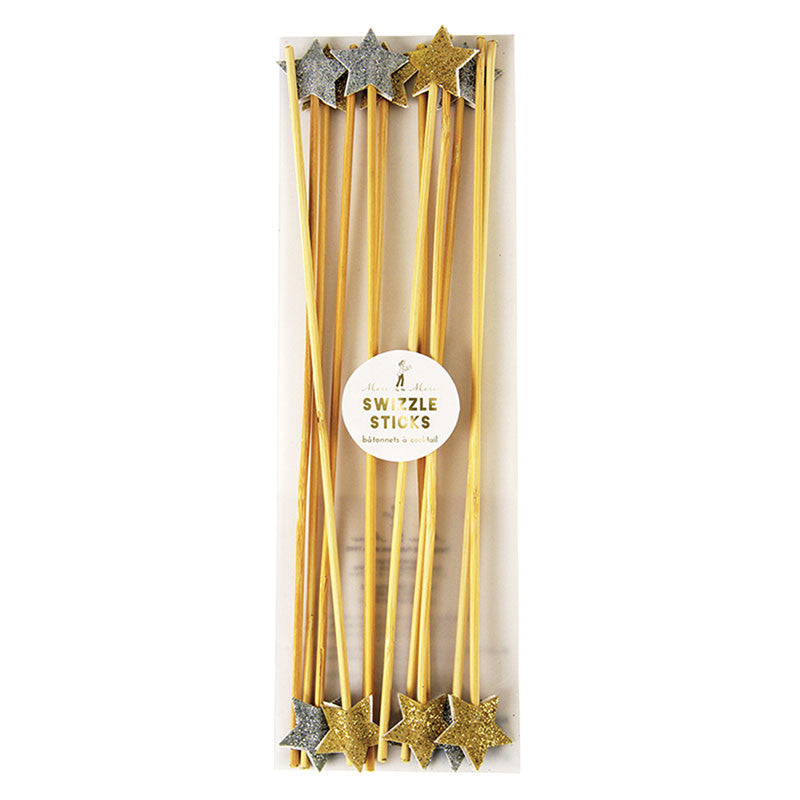 Meri Meri Glitter Stars Swizzle Sticks - Gold & Silver, MM-Meri Meri UK, Putti Fine Furnishings