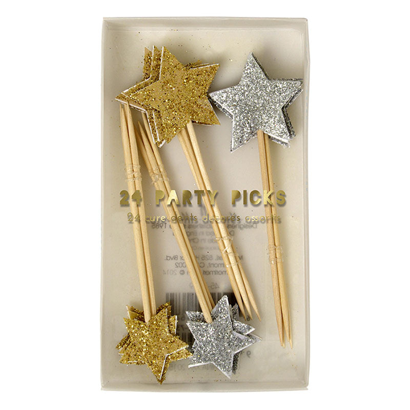 Meri Meri Glitter Stars Party Picks - Gold & Silver