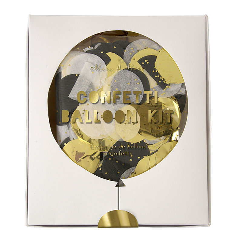 Meri Meri Confetti Balloon Kit - Shine Black & Gold, MM-Meri Meri UK, Putti Fine Furnishings