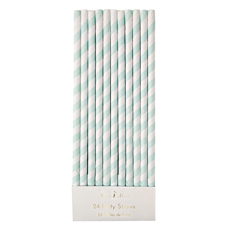 Meri Meri Mint Striped Straws