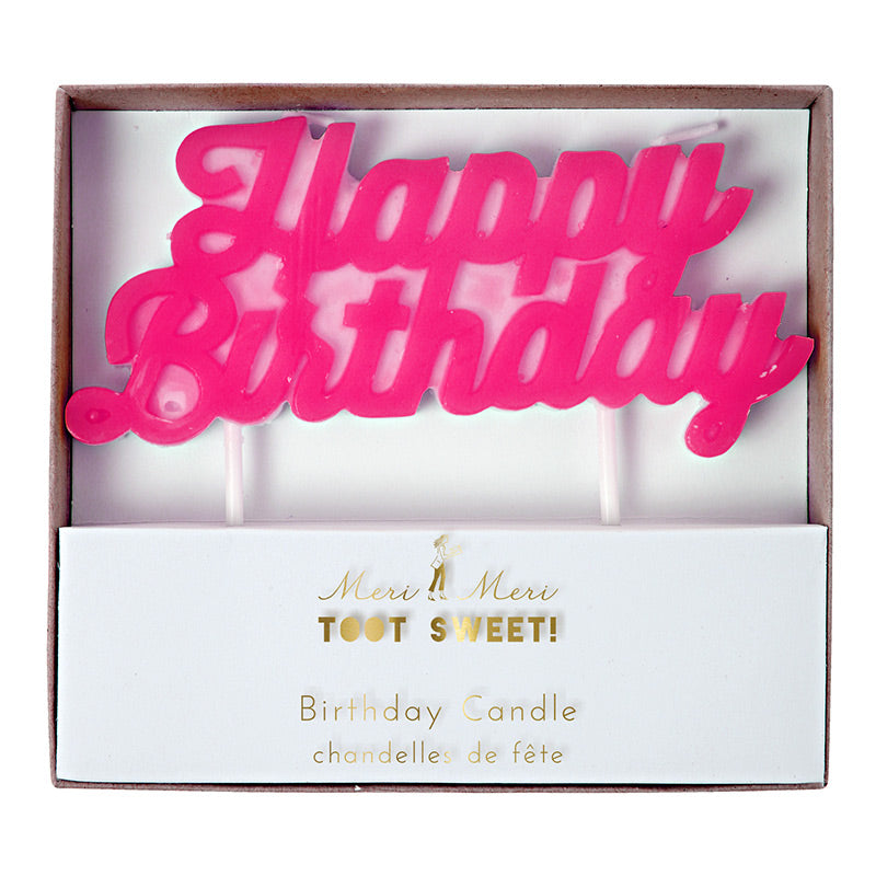 "Meri Meri ""Happy Birthday"" Candle - Hot Pink"