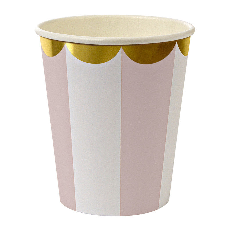 """Toot Sweet"" Dusty Pink and White Striped - Paper Cups -  Party Supplies - Meri Meri UK - Putti Fine Furnishings Toronto Canada"