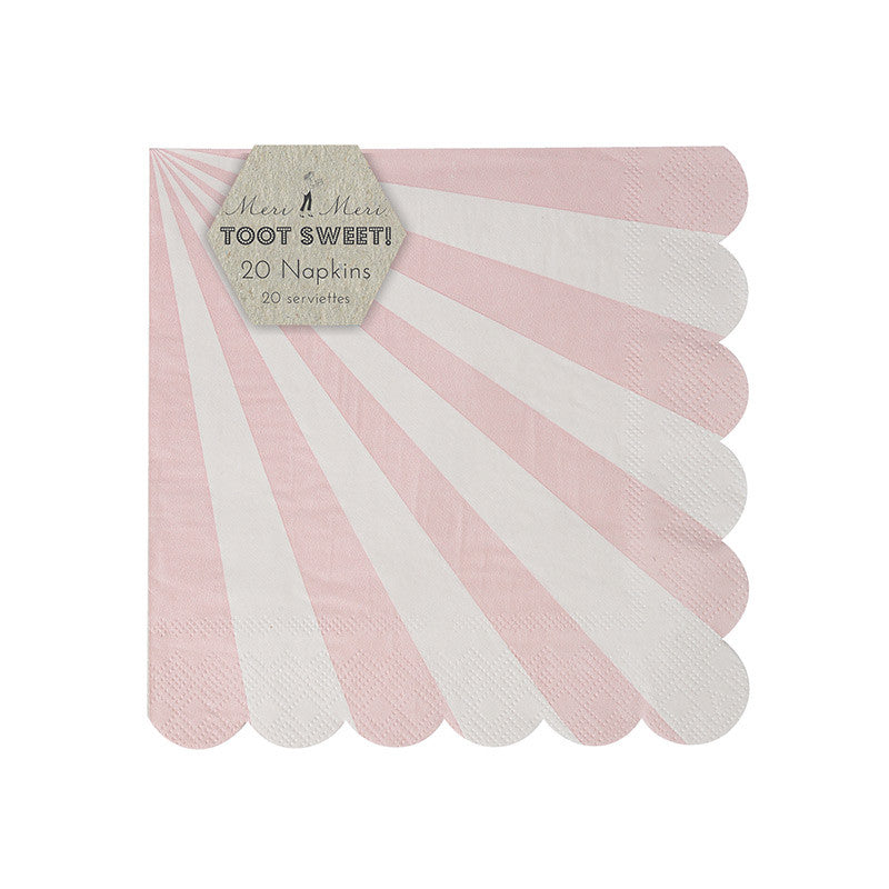 "Meri Meri ""Toot Sweet"" Dusty Pink and White Striped - Small Paper Napkins"
