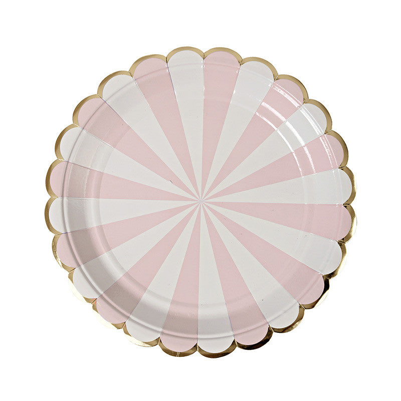 """Toot Sweet"" Dusty Pink and White Striped - Small Paper Plates -  Party Supplies - Meri Meri UK - Putti Fine Furnishings Toronto Canada - 1"
