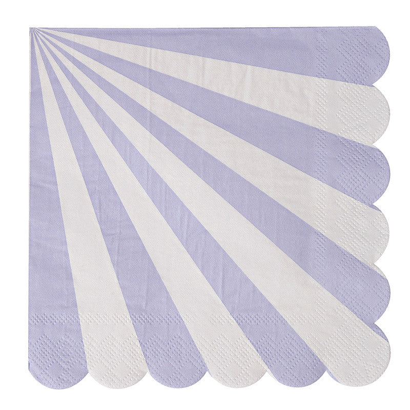 "Meri Meri ""Toot Sweet"" Lavender and White Striped - Large Paper Napkins"