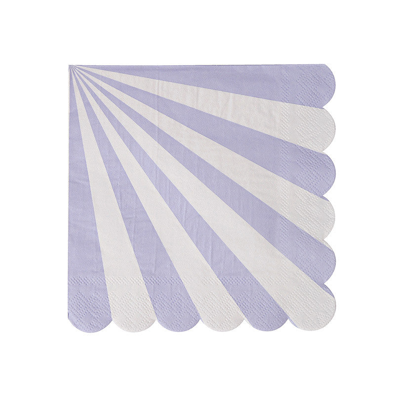 "Meri Meri ""Toot Sweet"" Lavender and White Striped - Small Paper Napkins"