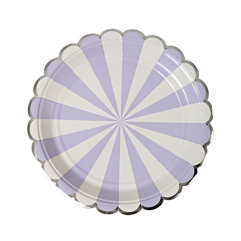 "Meri Meri ""Toot Sweet"" Lavender and White Striped - Small Paper Plate"