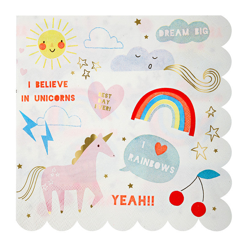 """I Believe in Unicorns"" Large Paper Napkins -  Party Supplies - Meri Meri UK - Putti Fine Furnishings Toronto Canada - 1"