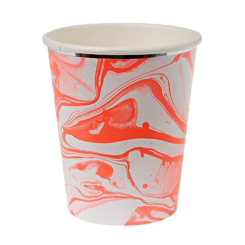 Orange and White Marble - Paper Cups, MM-Meri Meri UK, Putti Fine Furnishings