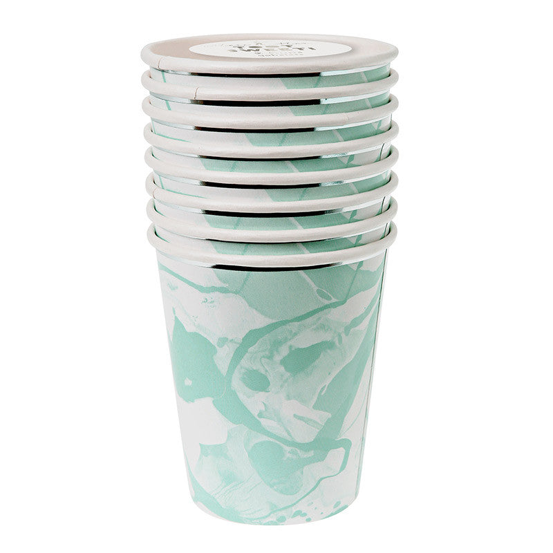 Aqua and White Marble - Paper Cups-Party Supplies-MM-Meri Meri UK-Putti Fine Furnishings