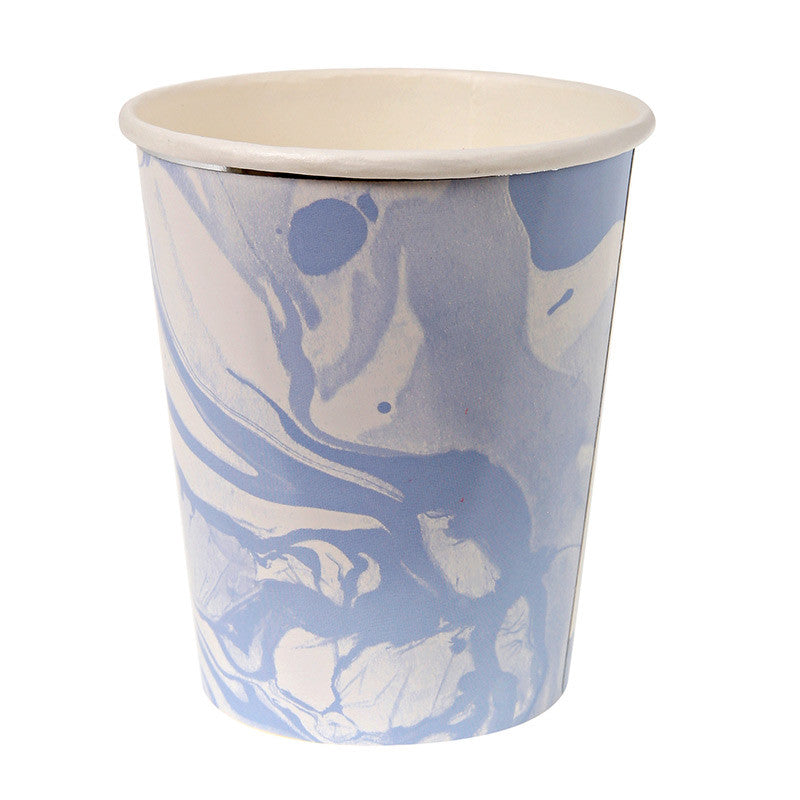 Blue and White Marble - Paper Cups, MM-Meri Meri UK, Putti Fine Furnishings
