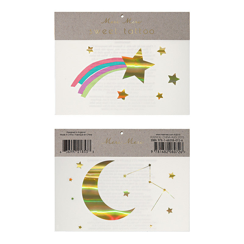 "Meri Meri ""Rainbow Shooting Star"" Tattoos, MM-Meri Meri UK, Putti Fine Furnishings"