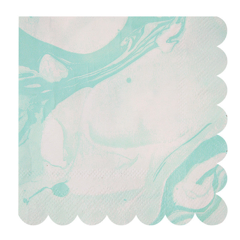 Aqua and White Marble - Large Paper Napkins