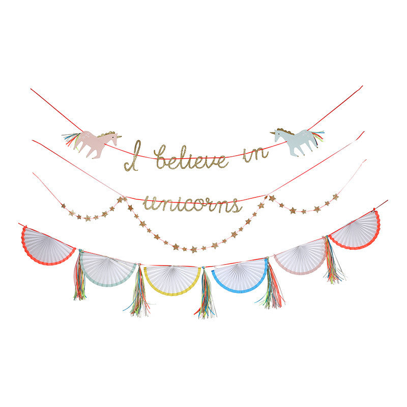 "Meri Meri ""I Believe in Unicorns"" Garland -  Party Supplies - Meri Meri UK - Putti Fine Furnishings Toronto Canada - 1"