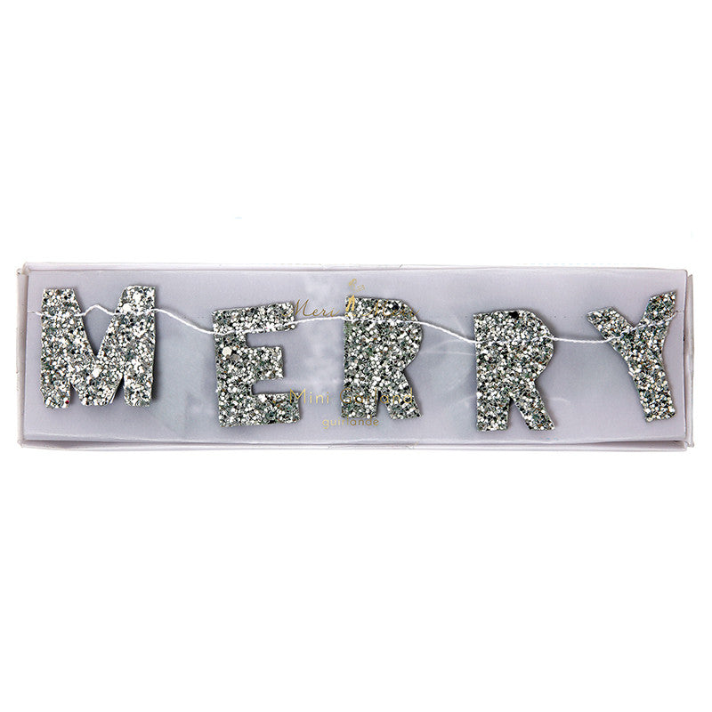 Meri Meri Glitter Merry Christmas Mini Garland - Silver, MM-Meri Meri UK, Putti Fine Furnishings