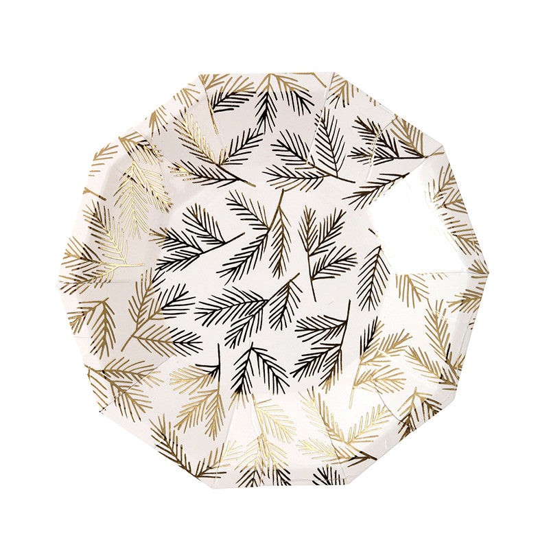 Gold Pine Paper Plates - Small, MM-Meri Meri UK, Putti Fine Furnishings