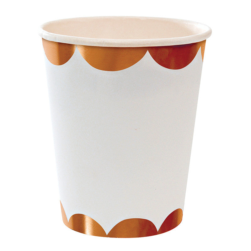 Rose Gold Foil Scalloped Paper Cups -  Party Supplies - Meri Meri UK - Putti Fine Furnishings Toronto Canada - 1