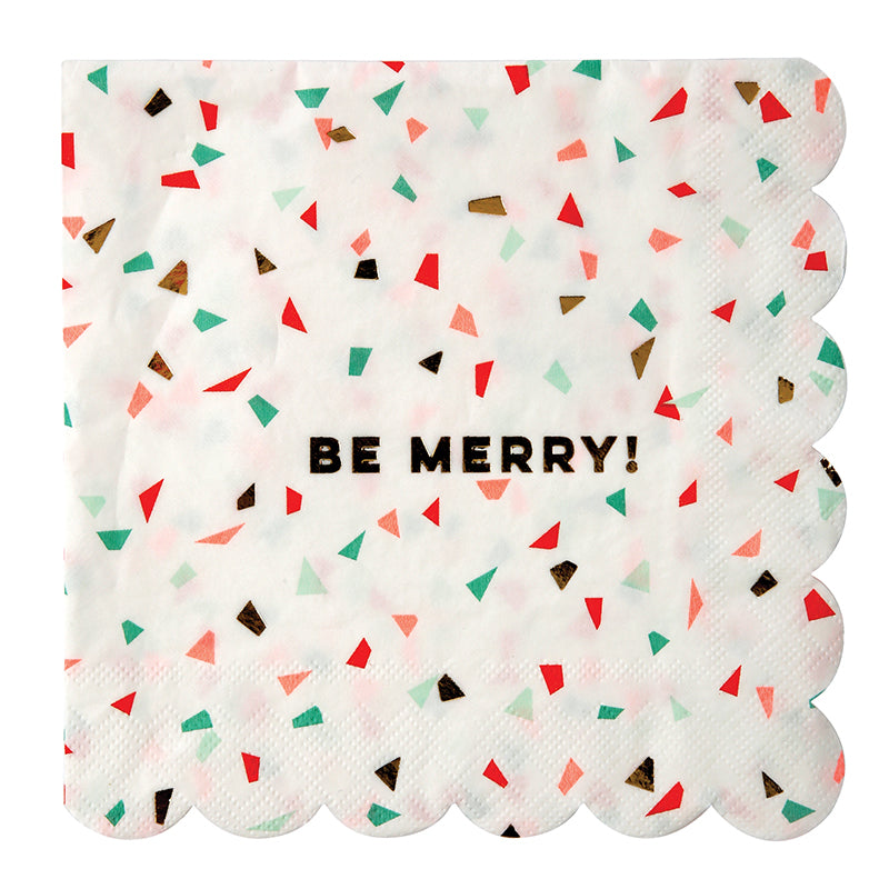 "Meri Meri Confetti ""Be Jolly"" - Large Paper Napkins"