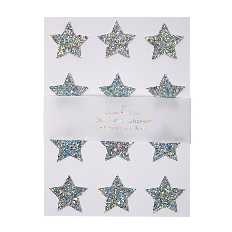 Meri Meri Chunky Glitter Star Stickers - Holographic Silver-Party Supplies-MM-Meri Meri UK-Putti Fine Furnishings