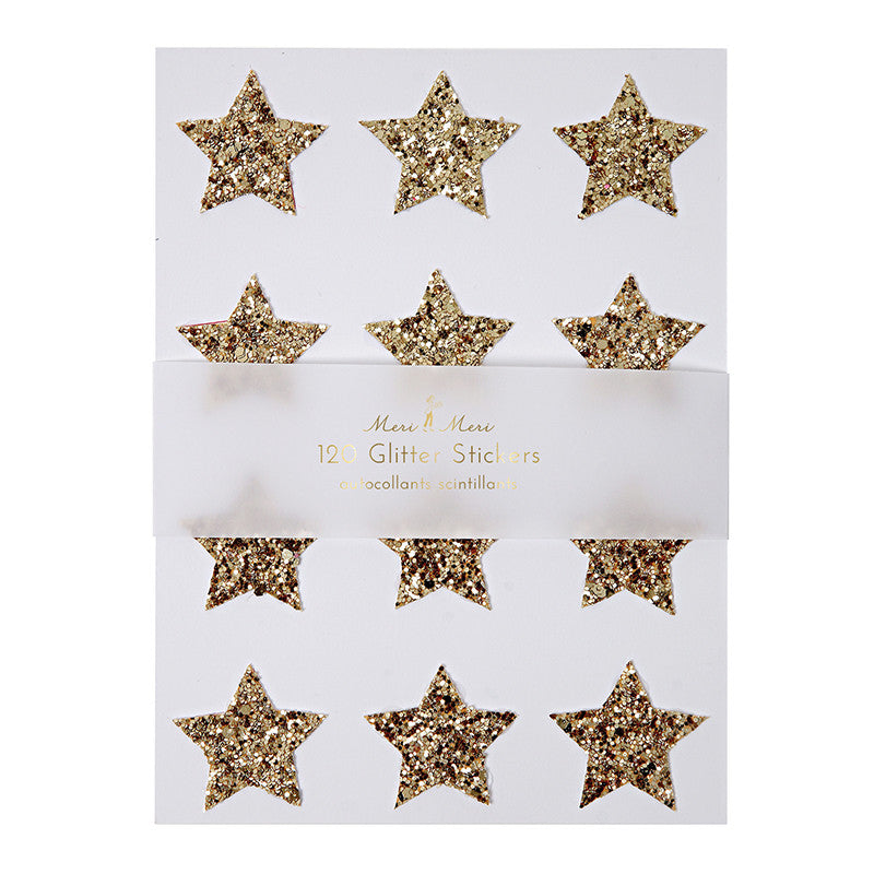 Meri Meri Chunky Glitter Star Stickers - Gold