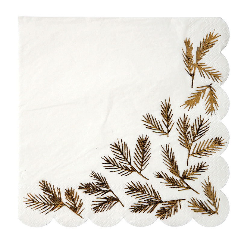Gold Pine Paper Napkins - Large, MM-Meri Meri UK, Putti Fine Furnishings