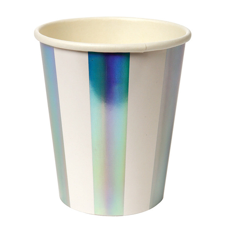 Holographic Silver Stripe Paper Cups, MM-Meri Meri UK, Putti Fine Furnishings