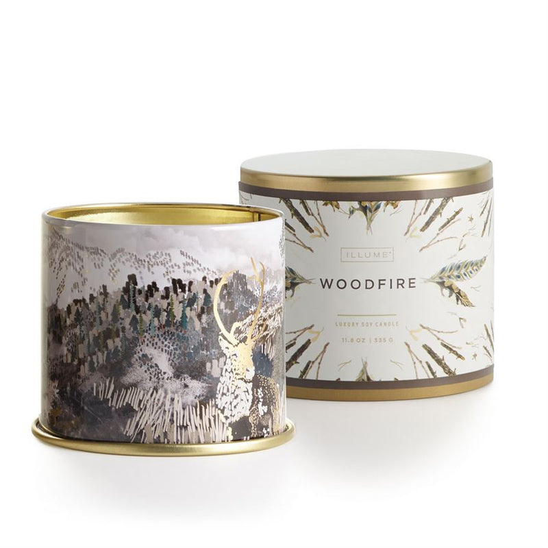 Illume Woodfire Large Tin Candle - Putti Fine Furnishings Canada